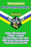 Canberra Raiders 1 NRL personalised invitation