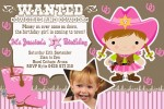 cowgirl personalised photo birthday party invitations