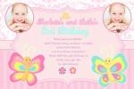 Twin girls birthday invitation