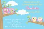Girls personalised owl invitations