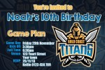 Gold Coast Titans birthday inviatation