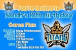 Gold Coast Titans birthday invitation