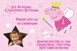 Peppa Pig personalised photo birthday party invitations