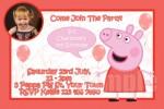 Peppa Pig personalised photo birthday party invitations