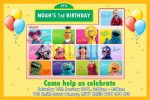 Sesame Street personalised photo birthday party invitation