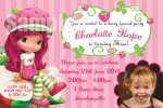 Strawberry shortcake personalised photo birthday party invitations