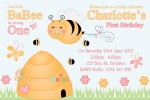 cute bee personalised birthday party baby shower invitation