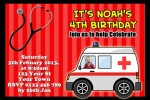 Ambulance and medical birthday invitations