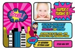 Super hero personalised photo birthday party invitations