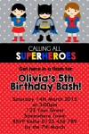 Super hero personalised photo bithday party invitations