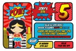 super hero girl wonder women invitation