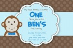 kids monkey invitation