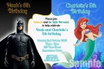 Batman and Little Mermaid 1 personalised invitation