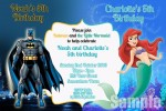 Batman and Little Mermaid 2 personalised invitation