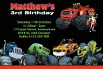 Blaze and the Monster Machines personalised invitations