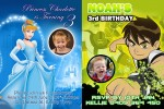 Cinderella and Ben 10 personalised invitation