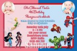 Fairy and super hero 1 with photo personalised invitation