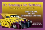 Hot Wheels personalised invitation