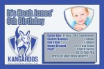 Kangaroos AFL personalised invitation
