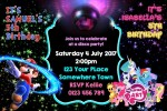 Mario and My Little Pony disco party invitations