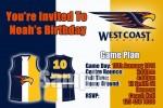 West Coast Eagles AFL personalised invitation