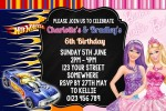 Barbie and Hot Wheels 2 personalised invitation