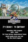 Jurassic world lego invite