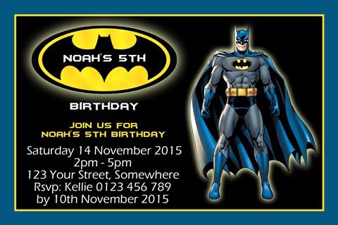Batman 11 personalised invitations