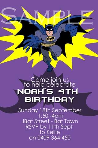 Batman personalised photo birthday party invitations