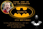 Batman personalised photo birthday party invitations