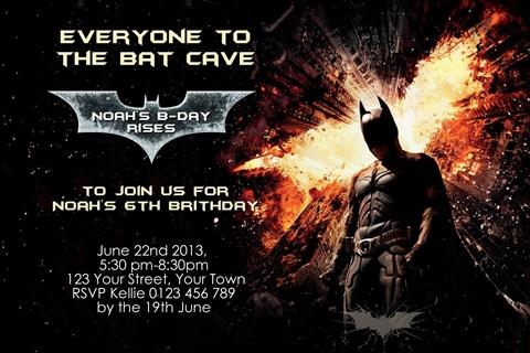 Batman rises personalised birthday party invitation