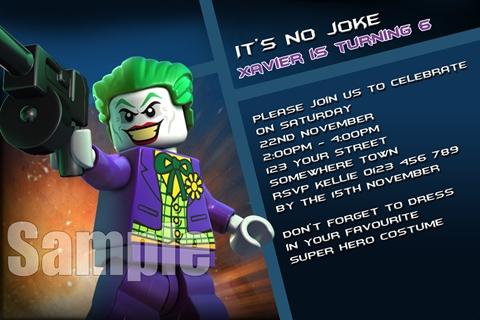 Batman Joker 1 personalised invitations