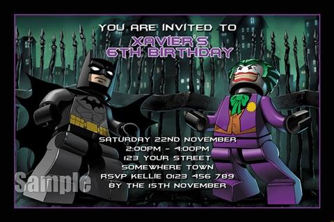 Batman Joker 2 personalised birthday party invitation