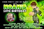 Ben 10 Personalised photo birthday party invitations