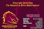 Brisbane Broncos NRL football invitation