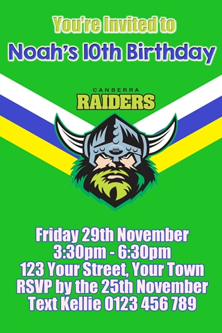 Canberra Raiders 1 NRL personalised invitation