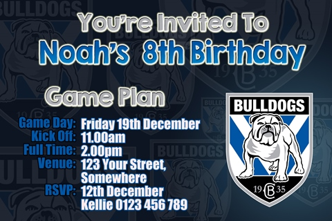 Canterbury bulldogs NRL football invitation