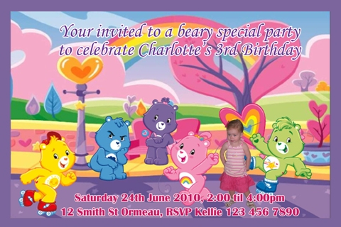 Care Bears personalised photo birthday invitations