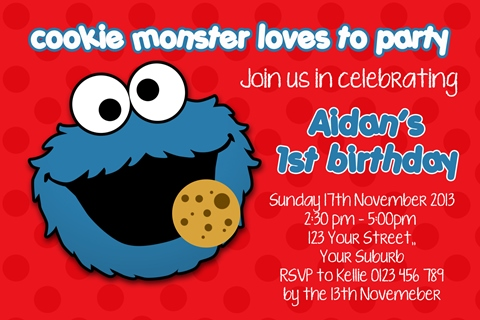 re blue boys Cookie monster birthday party invitation
