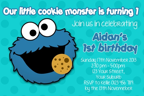 boys cookie monster birthday party invitation