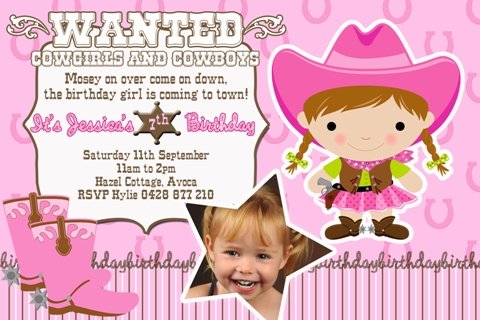 girls pink cowgirl personalised photo birthday party invitations