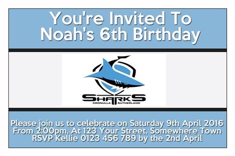 Cronulla Sutherland Sharks 2 NRL personalised invitation