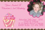 cupcake personalised photo birthday party invitations