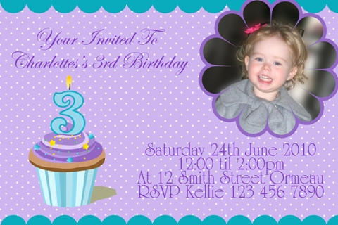 cupcake personalised photo birthday party invitations