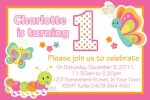 Butterfly and Cute Bugs personalised birthday party invitations