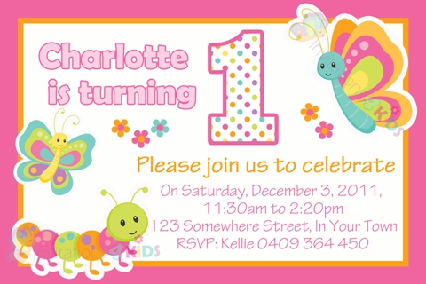 girls Butterfly and Cute Bugs 1st first birthday personalised party invitations