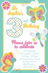 Kids Butterfly personalised girls invitations