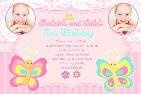 Twin girls butterfly floral pink birthday invitation