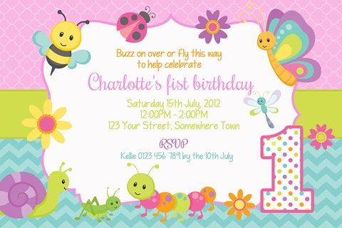 cute bugs girls birthday party invitation with snail butterfly bee and caterpillar