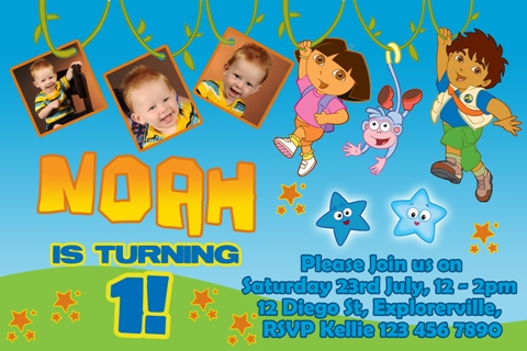 Diego personalised photo birthday party invitations